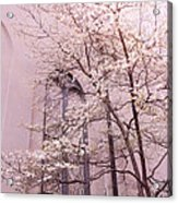 Surreal Dreamy Church Window With Pink Trees Acrylic Print