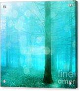 Surreal Dreamy Fantasy Bokeh Aqua Teal Turquoise Woodlands Trees  Acrylic Print