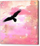 Surreal Dreamy Fantasy Ravens Pink Sky Scene Acrylic Print by Kathy Fornal