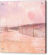 Surreal Dreamy Pink Coastal Summer Beach Ocean With Balloons Acrylic Print
