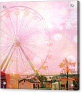 Surreal Dreamy Pink Myrtle Beach Ferris Wheel Acrylic Print by Kathy Fornal