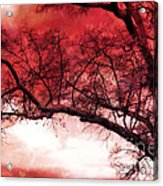Surreal Fantasy Gothic Red Tree Landscape Acrylic Print