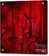 Surreal Fantasy Gothic Red Woodlands Raven Trees Acrylic Print