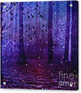 Surreal Fantasy Starry Night Purple Woodlands - Purple Blue Fantasy Nature Fairy Lights  Acrylic Print