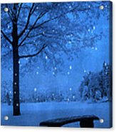 Surreal Fantasy Winter Blue Tree Snow Landscape Acrylic Print by Kathy Fornal