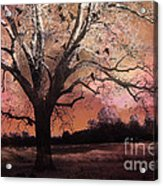 Surreal Gothic Fantasy Trees Pink Sky Ravens Acrylic Print by Kathy Fornal