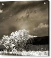 Surreal Infrared Sepia Rural Barn Landscape Acrylic Print