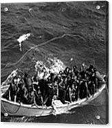 Survivors Of Uss Princeton In Life Boat Acrylic Print
