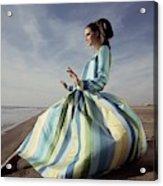 Editha Dussler Posing On A Beach Acrylic Print
