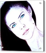 Susan Ward Blue Eyed Beauty With A Mole II Acrylic Print by Jim Fitzpatrick