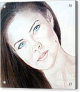 Actress And Model Susan Ward Blue Eyed Beauty With A Mole Acrylic Print