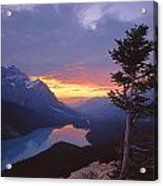 1m3607-sunset Over Peyto Lake Acrylic Print