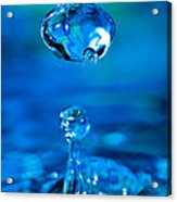 Suspended Drop In Blue Acrylic Print