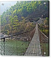 Suspension Bridge Over The Seti River In Nepal Acrylic Print