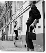 Suzy Parker Photographing A Model In Front Acrylic Print