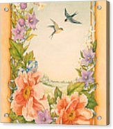 Swallows And Peonies Acrylic Print