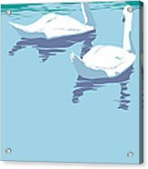 Abstract Swans Bird Lake Pop Art Nouveau Retro 80s 1980s Landscape Stylized Large Painting  Acrylic Print
