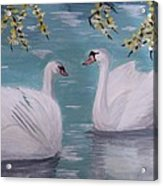 Swans On Pond Acrylic Print by Kat Poon
