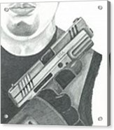 S.w.a.t. Team Leader Holding A Springfield Armory Xd 40 Cal Weapon Acrylic Print by Sharon Blanchard