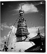 Swayambhunath Temple Black And White Acrylic Print by Raimond Klavins