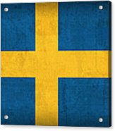 Sweden Flag Vintage Distressed Finish Acrylic Print
