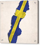 Sweden Map Art With Flag Design Acrylic Print