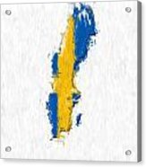 Sweden Painted Flag Map Acrylic Print