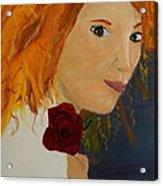 Sweet Lady Holding A Rose Acrylic Print