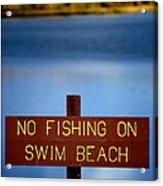 Swim Beach Sign Acrylic Print