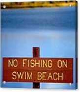 Swim Beach Sign L Acrylic Print
