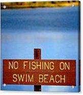 Swim Beach Sign L Acrylic Print