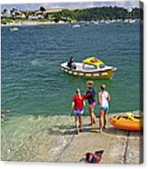 Swimmers On The Slipway - St Mawes Acrylic Print