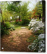 Swing In The Garden Acrylic Print by Sandy Keeton