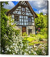 Swiss Chalet In The Garden Acrylic Print by Debra and Dave Vanderlaan