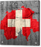 Switzerland Flag Country Outline Painted On Old Cracked Cement Acrylic Print