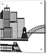 Sydney Australia Skyline Black And White Illustration Acrylic Print