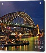 Sydney Harbour Bridge By Night Acrylic Print by Kaye Menner