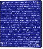 Sydney In Words Blue Acrylic Print