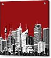 Sydney Skyline 1 - Dark Red Acrylic Print