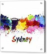 Sydney Skyline In Watercolor Acrylic Print