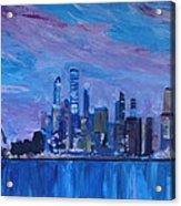 Sydney Skyline With Opera House At Dusk Acrylic Print