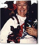 Sylver Short With Her Miniature Pinschers Christmas 2002-2008 Acrylic Print