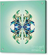 Symmetrical Orchid Art - Blues And Greens Acrylic Print