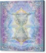 Synthecentered Doublestar Chalice In Blueaurayed Multivortexes On Tapestry Lg Acrylic Print