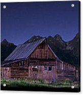 T. A. Moulton Homestead Barn At Night Acrylic Print