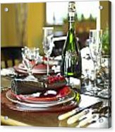 Table Setting With Red And White Acrylic Print