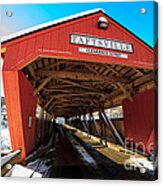 Taftsville Covered Bridge In Vermont In Winter Acrylic Print by Edward Fielding