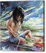 Tahitian Boy With Knife Acrylic Print