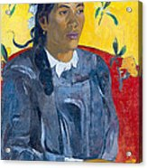 Tahitian Woman With A Flower Acrylic Print