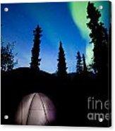 Taiga Tent Illuminated Under Northern Lights Flare Acrylic Print